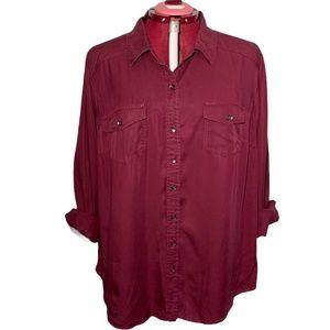 Torrid Long Sleeve Button Up Shirt Blouse Burgundy